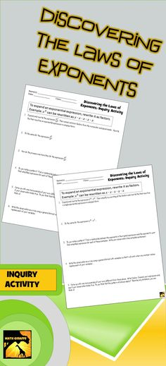 FREEBIE: Guided inquiry activity where students develop product rule and quotient rule - great intro to laws of exponents