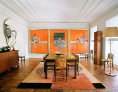Inside beauty Guru Terry de Gunzburg& gallery-like home there are patterned. Inside beauty Guru Terry de Gunzburg& gallery-like home there are patterned wood floors, high ceilings, ceiling molding, a midcentury modern console and large dining table. French Interior, Best Interior, Home Interior, Interior Architecture, Interior Decorating, Decorating Ideas, Victorian Architecture, Apartment Interior, Home Design