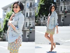 patterned shift dress, layered chambray and denim jacket