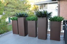 Add tall aluminum planters along side railings for extra privacy. Rectangular Planters, Metal Planters, Garden Planters, Patio Design, Garden Design, Privacy Planter, Wood Burning Fire Pit, French Bistro, Corten Steel