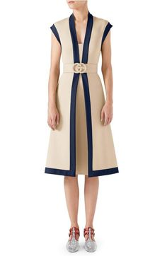 Main Image - Gucci Contrast Trim Belted Dress $2800