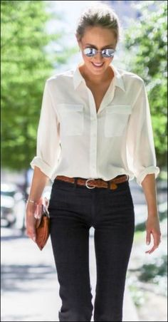 45 Adorable Chic Womens White Shirts Outfits Ideas For Spring And Summer Preppy Fall Outfits, Spring Outfits, Casual Outfits, White Shirt Outfits, Oversized Sweater Outfit, Look Fashion, Girl Fashion, Womens Fashion, Super Moda