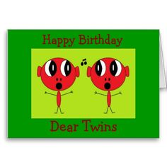 Happy Birthday Dear Twins Greeting Card Half Fun Wishes