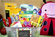Extra Supplies Back to School Gift Basket with FREE printable tag
