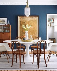 Via Emily Henderson Ginny_macdonald_dining_table. Blue Dining Rooms, Dining  Room Colors ...