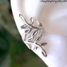 Laurel leaf Sterling silver ear cuff earring