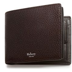 Mulberry 8 Card Coin Wallet ($310) ❤ liked on Polyvore featuring men's fashion, men's bags, men's wallets, chocolate, mens snap wallet, mens coin wallet, mens front pocket wallet and mulberry mens wallet