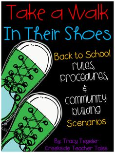 """This pack is just what you need to spice up how you develop, teach, or review your expectations for your classroom's rules and procedures! It will also help in building your classroom community!   Your kiddos will """"try on"""" one of the characters shoes by reading a scenario that presents a problem based around a rule, procedure, or building a classroom community. You can have your kiddos discuss and come up with solutions as a whole group, small group, or in partners."""