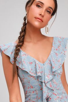 Shine bright in the Lulus Radiant Rosa Light Blue Floral Print Ruffled Mini Dress! Light blue floral print mini dress with ruffle details throughout. Floral Tops, Floral Prints, Dress Neck Designs, Girl Dress Patterns, Light Blue Dresses, Western Outfits, Womens Fashion For Work, Blue Fabric, Fashion Dresses