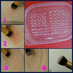 Diy makeup brush cleaning mat or should  i say lid. All u need is a plastic lid or board and a glue gun...small dots and large ones and lines  should  do the tricks...its amazing how well it works..happy brush cleaning