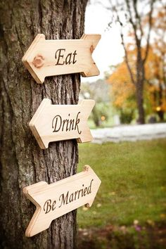 """Instead of """"Eat, Drink, and be Merry."""" it's """"Eat, Drink, and Be Married! Such a cute play on words to Dave Matthew's song 'Tripping Billies'. <3"""