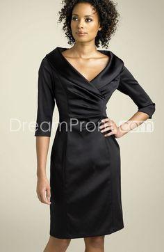 Charming+A-Line+Knee-Length+Half-Sleeve+V-Neck+Mother+Of+The+Bride+Dress
