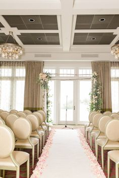 Ivory, Blush and Gold Wedding Ceremony Ideas and Inspiration with Blush Rose Petals and Arch with Ivory and Blush Florals with Gold Banquet Chairs | St. Petersburg Wedding Venue The Birchwood | Tampa Bay Wedding Photographer Ailyn La Torre Photography