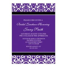Plum Black Damask Bridal Lunch Invitation Cards