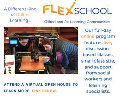 Does your gifted student need more than your district can provide remotely? FlexSchool offers a unique, synchronous, discussion-based program. We feature small class sizes, social-emotional support and our students meet for a full day with intellectual peers and FlexSchool teachers. Click the link to register for one of our virtual open houses. Online Programs, Student Gifts, Open House, Students, Meet, Teacher, Houses, Learning, Day