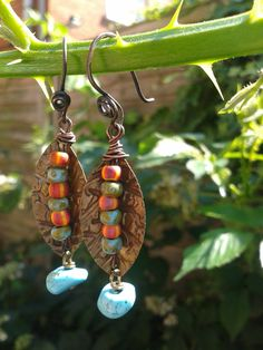 Rustic aged Brass leaf aged seed bead and turquoise nugget wire wrapped Artisan dangle earrings  UK Boho Gypsy Bohemian by RelicJewelsUK on Etsy
