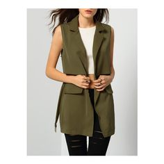 SheIn(sheinside) Army Green Notch Lapel Self-Tie Vest With Pockets ($18) ❤ liked on Polyvore featuring outerwear, vests, green, brown waistcoat, vest waistcoat, olive green vest, green waistcoat and pocket vest