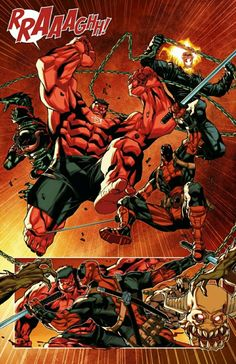 Marvel Red Hulk, Ghost Rider, Deadpool, and Venom Marvel Comic Character, Comic Book Characters, Marvel Characters, Comic Books Art, Comic Art, Marvel Villains, Marvel Comics Art, Ms Marvel, Marvel Heroes