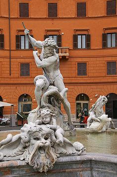 Fountain of Neptune in the Piazza Navona, Rome, Italy