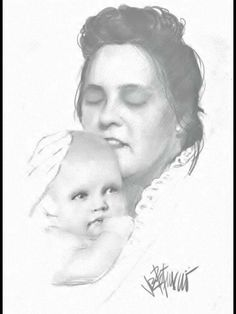 A beautiful Picture of Gladys and Baby Elvis by Joe Petruccio, how they might have looked like when he was born ❤️ so touching what do you think?