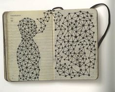 Pep Carrió, drawing on calendar pages;  lots more inspiration here
