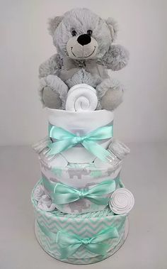Neutral Nappy Cake - Mint and Grey Three Tier Nappy Cake, Nappy Cakes by Emma, Australia, Brisbane, Diaper Cake, Brisbane, Sydney, Melbourne, Australia