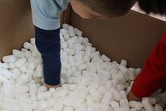DIY I Spy Activity w/ Packing Peanuts Somehow i feel like this could go horribly wrong with my kids but keeping in mind