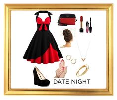 """""""Date Night"""" by yayme2 ❤ liked on Polyvore featuring Nine West, Prada, Louis Vuitton, Lancôme, Charlotte Russe, Lord & Taylor, Cartier and Piggy Paint"""
