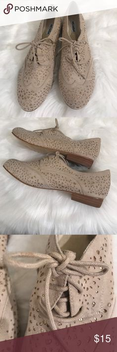 NotRated Tan and Gold Glitter Spotted Oxfords Never worn, only tried on. Size 9.5. Gorgeous tan with gold glitter spots. Lace up style. Not Rated Shoes Mules & Clogs