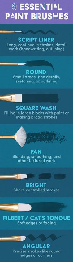 I don't think I need to explain why you need paint brushes, but a good paint brush is super important because a cheap brush will most likely shed and ruin your project. If you're looking for a cheap, disposable option, definitely purchase brushes with synthetic hair. It can feel overwhelming to know which paint brush to use for what so here are a few simple rules you can keep in mind:# A script liner brush has long, thin hairs and is used for long, continuous strokes or delicate, detail work…
