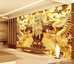 3D Woodcut View Gold Double Dragon Photo Wallpaper Wall Mural Art Giant Wall Decor Poster Corridor Office Nursery Living Room Free Shipping