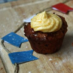 Bite-sized dessert: sticky toffee cupcakes with caramel filling and custard buttercream frosting