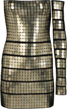 Hervè lèger Metal Pailette- gladiator embellished Bandage Dress   dressmesweetiedarling