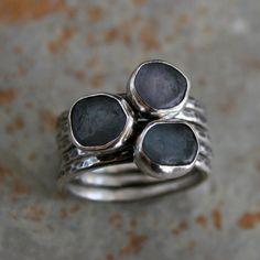 Uncut Montana Sapphire Stacking Rings Kira Ferrer Jewelry