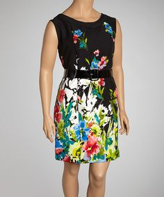 Take a look at this Black Floral Belted Dress - Plus by AA Studio on #zulily today!