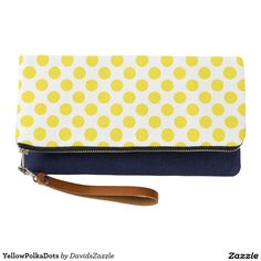 Yellow Polka Dots Clutch Bag  Available on many products! Hit the 'available on' tab near the product description to see them all! Thanks for looking!     @zazzle #art #polka #dots #shop #chic #modern #style #circle #round #fun #neat #cool #buy #sale #shopping #men #women #sweet #awesome #look #accent #fashion #clothes #apparel #tote #bag #accessories #accessory #compact #mirror #hand #purse #clutch #cosmetic #makeup #messenger #bicycle #yellow #white