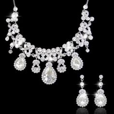 Rhinestone Teardrop Flower Necklace Earring Set, Vintage Style Swarovski Crystal Statement Necklace, Bridesmaid Jewelry-165720838 on Etsy, $39.99