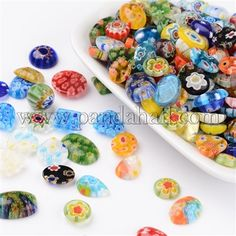Mixed Shape Handmade Millefiori Glass Cabochons LK-L004-18-1