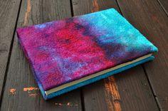 Felted notebook silk wool nuno felted gift by AleksandrabWiniarska