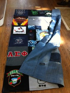 tshirt blanket I made for a very dear friend who's husband passed away suddenly. What a great memory. Front is his t-shirts, the back is made from his old blue jeans...:-) Miss you, Bob...