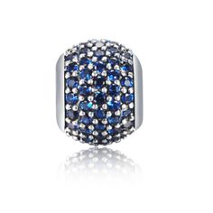 December Daily Deal Blue Pave Ball Charm 925 Sterling Silver Pandora Compatible