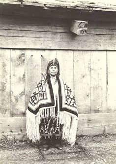 Tlingit man wearing traditional dress and headpiece, Wrangell, Alaska, June 1940. :: American Indians of the Pacific Northwest -- Image Portion