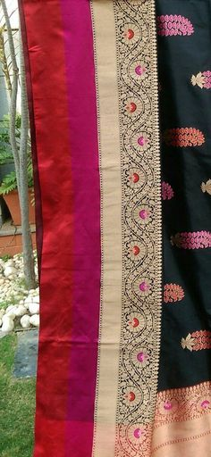 Lehanga Saree, Phulkari Saree, Brocade Saree, Banaras Sarees, Saree Dress, Ikkat Dupatta, Traditional Sarees, Traditional Outfits, Velvet Saree