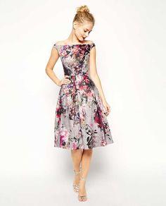 ASOS floral midi dress with bardot neckline