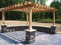 Love the Pergola and stone columns and the retainer wall incorporated. Love the Pergola and stone co White Pergola, Deck With Pergola, Outdoor Pergola, Outdoor Spaces, Pergola Kits, Pergola Ideas, Pergola Carport, Pergola Lighting, Corner Pergola
