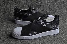 Adidas Superstar Slip On Black Skull Runing Shoes