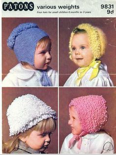 Patons 9831 four designs baby bonnets hats vintage knitting pattern premature to six months sizes double knitting Baby Patterns, Vintage Patterns, Crochet Patterns, Baby Hat Knitting Pattern, Baby Bonnets, Girl With Hat, Kids Hats, Vintage Knitting, Baby Hats
