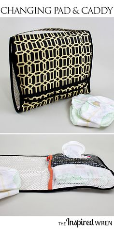 Love that the wipes and dipes are included AND it's laminated for easy cleaning! Baby Sewing Projects, Sewing For Kids, Sewing Tutorials, Sewing Ideas, Diaper Changing Station, Diaper Changing Pad, Changing Mat, Diaper Caddy, Diaper Bag
