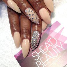 Nude x bling #nails #nailart #london #bling #SheaD #artist #artist #beauty #stiletto #weddingnails
