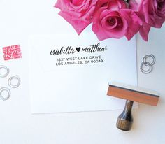 Items similar to Heart Stamp - Custom Stamp with Heart Detail - Custom Stamps - Address Stamp - Calligraphy - Script on Etsy Custom Address Stamp, Custom Stamps, Wedding To Do List, Our Wedding, Dream Wedding, Arts And Crafts Projects, Maid Of Honor, Wedding Signs, Wedding Invitations